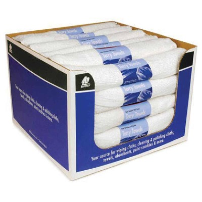 Buffalo Industries 100% Cotton White 14 In. Terry Cloth Towels, 057-315