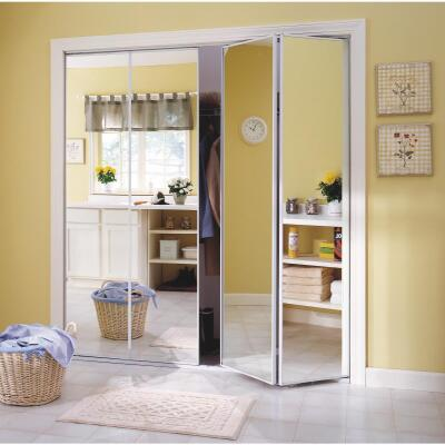 Erias Series 4400 30 In. W. x 80-1/2 In. H. Steel Frame Mirrored White Bifold Door