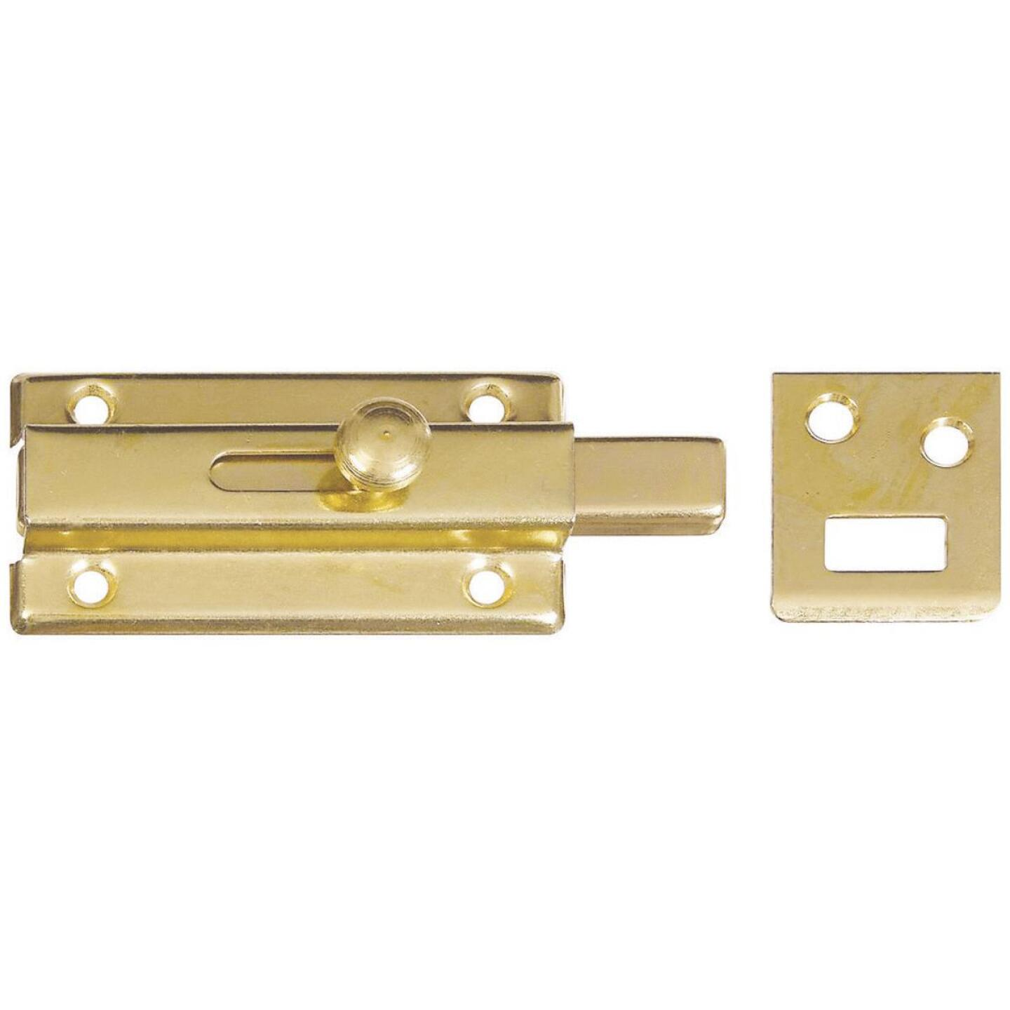 National 3 In. Brass Door Slide Bolt Image 1