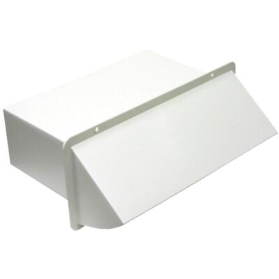 Lambro 3-1/4 In. x 10 In. White Plastic Kitchen Wall Vent Cap with Damper