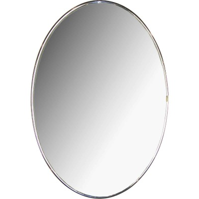 Erias Home Designs Elmvale 15 In. W. x 22 In. H. Chrome Mylar Flat Edge Oval Wall Mirror