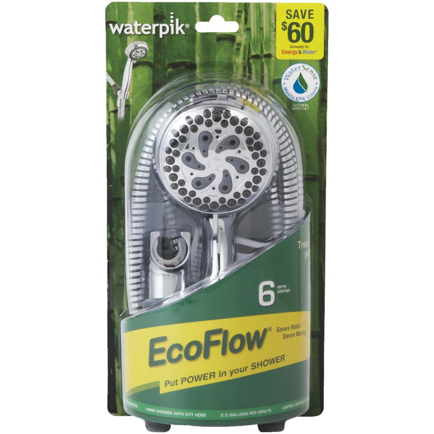 Waterpik EcoFlow 6-Spray 1.8 GPM Handheld Shower, Chrome Image 2