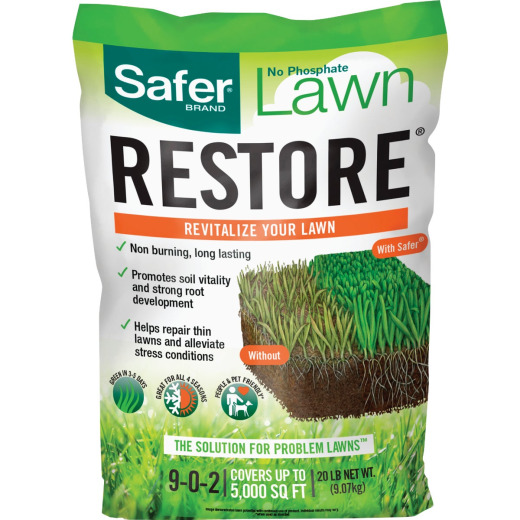 Safer Lawn Restore 20 Lb. 5000 Sq. Ft. 9-0-2 Lawn Fertilizer