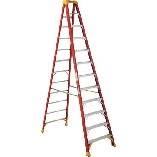 Werner 12 Ft. Fiberglass Step Ladder with 300 Lb. Load Capacity Type IA Ladder Rating
